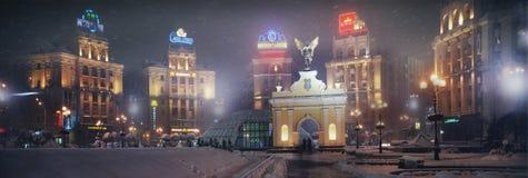 Neues Jahr in der Hauptstadt von Ukraine - nebeln Sie ein, regnen Sie Stockbild