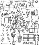 Neues Jahr des abstrakten schönen künstlerischen grafischen reizenden Feiertags kritzelt Muster Weihnachtsbaum, Geschenke, Feuerw stock abbildung