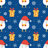 Neues Jahr des flachen Designs, Weihnachtsnahtloser Musterhintergrund Stockfotografie