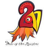 Neues Jahr des Hahns Die schwarze Beschriftung, die mit roter und gelber Geschichte, Kamm verziert wird, kratzt Sporn Lizenzfreie Stockfotografie