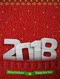 Neues Jahr 2018 des Holzes in gestrickter Tasche Stockfotografie