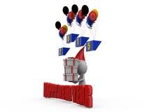 neues Jahr des Mannes 3d steigt Konzept im Ballon auf Stockfoto