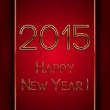 Neues Jahr 2015 des roten Grußes des Vektorrechtecks Lizenzfreie Stockbilder