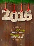 Neues Jahr 2016 des zerknitterten Papiers gegen hölzernen Hintergrund lizenzfreie abbildung