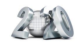Neues Jahr-2020 Discoball auf einer weißen Illustration des Hintergrundes 3D, Wiedergabe 3D lizenzfreies stockbild