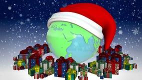 Neues Jahr Erde mit Geschenken stock video footage
