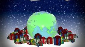 Neues Jahr Erde mit Geschenken stock video