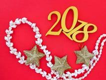 Neues Jahr-Fahne 2018, drei Sterne und eine Halskette Lizenzfreie Stockbilder