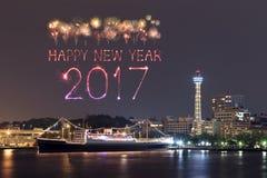 2017 neues Jahr-Feuerwerke über Jachthafen bellen in Yokohama-Stadt, Japan Lizenzfreies Stockfoto