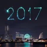 2017 neues Jahr-Feuerwerke über Jachthafen bellen in Yokohama-Stadt, Japan Lizenzfreie Stockfotografie