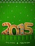 Neues Jahr 2015 in Form von Lebkuchen in gestrickter Tasche Lizenzfreies Stockbild