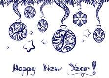 Neues Jahr-Gekritzel-Dekoration vektor abbildung