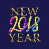 2018 neues Jahr golden und flüssige Farben, die für Grußkartendesign beschriften Stockfoto