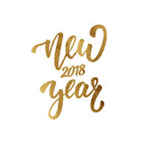 Neues Jahr Goldfolienbeschriftung für neues Jahr 2018 Grußhandbeschriftung für Jahreszeit des Winters 2018 Stockfotografie