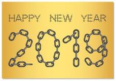 Neues Jahr-Grüße für 2019 mit dem Wörter guten Rutsch ins Neue Jahr von der Stahlkette auf einem Goldhintergrund lizenzfreie abbildung