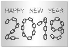 Neues Jahr-Grüße für 2019 mit dem Wörter guten Rutsch ins Neue Jahr von der Stahlkette auf einem silbernen Hintergrund vektor abbildung
