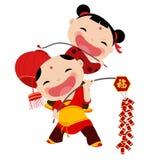 Neues Jahr Greetings_boy und Mädchen Lizenzfreies Stockbild