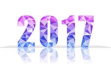 2017 neues Jahr im bunten Polygondesign Stockbilder