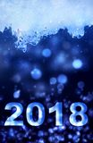 2018 neues Jahr im Eis Lizenzfreies Stockfoto