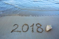 Neues Jahr 2018 ist kommendes Konzept- und Seeoberteil Lizenzfreie Stockfotos