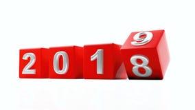 Neues Jahr 2019, Jahrdrehung Stellen auf roten Würfeln auf weißem Hintergrund Abbildung 3D Lizenzfreies Stockbild
