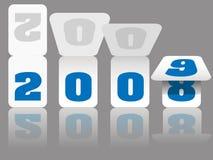 Neues Jahr-Kalender-Zahl-Karten drehen 2008 bis 2009 Lizenzfreies Stockfoto