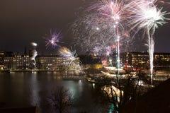 Neues Jahr Kopenhagen der Feuerwerke Stockfoto