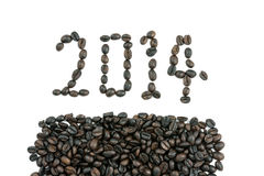 Neues Jahr 2014 machte Kaffeebohnen Stockbilder