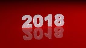 Neues Jahr 2018 machte vom Eis auf der glatten Oberfläche Stockfotos