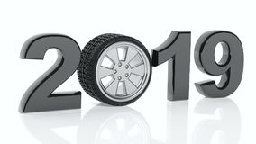 Neues Jahr 2019 mit Auto ` s Rad auf weißem Hintergrund Abbildung 3D Stockbilder