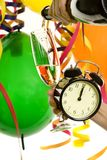 Neues Jahr mit Champagner und Uhr lizenzfreies stockbild