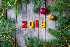 Neues Jahr 2018 mit einem Weihnachtsbaum Lizenzfreies Stockbild