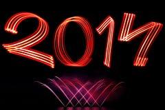 Neues Jahr 2014 mit Feuerwerken Stockbild