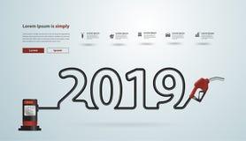 2019 neues Jahr mit kreativem Design der Benzinpumpen-Düse vektor abbildung