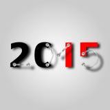 Neues Jahr 2015 mit Platte und Schrauben Stockfotos