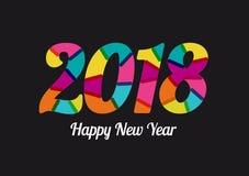 2018 neues Jahr mit Prächtigen Farben Gemischte flache Farben Stock Abbildung