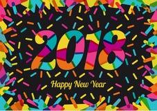 2018 neues Jahr mit Prächtigen Farben und farbigen dekorativen Formen Stock Abbildung