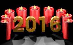 Neues Jahr 2016 mit roten Kerzen Stockbilder