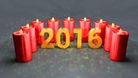 Neues Jahr 2016 mit roten Kerzen und Funken Stockfotografie