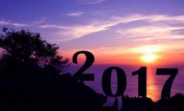 Neues Jahr 2017 mit Sonnenuntergang auf dem Berg Stockbild