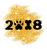 Neues Jahr 2018 mit Symbol-Hund Paw Print und Knochen-Form, Funkeln-Oberfläche Lizenzfreies Stockfoto