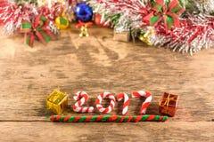 Neues Jahr 2017 mit Weihnachtsdekorationen Lizenzfreies Stockbild