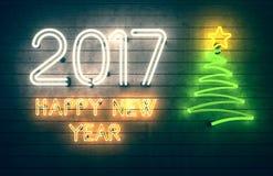 Neues Jahr 2017 Neonformen mit Lichtern Stockfotografie