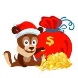 Neues Jahr oder Weihnachtsgrußkarte mit Hund, Tasche und Stapel von Goldmünzen Stockfotos