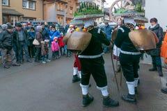 Neues Jahr-Pantomimenspieler ( Silvesterchlausen) in Urnasch Appenzell Stockfotografie