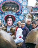 Neues Jahr-Pantomimenspieler ( Silvesterchlausen) in Urnasch Appenzell stockbild