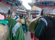 Neues Jahr-Pantomimenspieler ( Silvesterchlausen) in Urnasch Appenzell Stockbilder