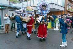 Neues Jahr-Pantomimenspieler ( Silvesterchlausen) in Urnasch Appenzell Lizenzfreie Stockfotos