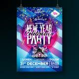 Neues Jahr-Partei-Feier-Plakat-Schablonen-Illustration mit Sprechern und bunte fallende Konfettis auf glänzendem Blau stock abbildung
