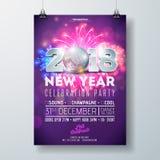 Neues Jahr-Partei-Feier-Plakat-Schablonen-Illustration mit Zahl 3d 2018, Disco-Ball und Feuerwerk auf glänzendem buntem Stockbild